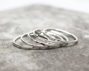 Sterling Silver Stacking Ring - Thin Stackable Rings- 925 Silver Ring Set, Thin Silver Hammered Ring- Dainty Petite Rings