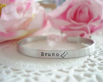 """Hand Stamped With The Name Of Your Choice Dog Bone 1/4"""" Aluminium Cuff Bracelet Made To Order Customized Personalized"""