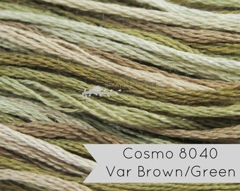 COSMO Seasons Embroidery Floss - No. 8040 Brown Green | Lecien Cosmo 6 Strand Cotton Variegated Embroidery Thread
