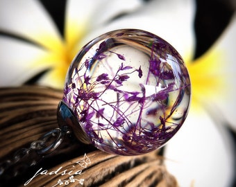Purple dried flower resin necklace,clear sphere pendant,resin jewelry,stainless steel chain necklace,botanical,special gifts,spray grass