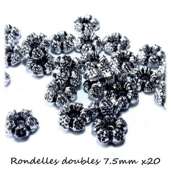 20 Perles rondelles doubles 7.5 mm