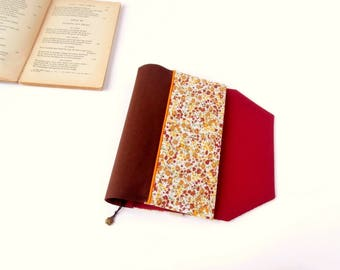 Protects-pocketbook adjustable fabric with bookmark (flower pattern fabric / marron_rouge)