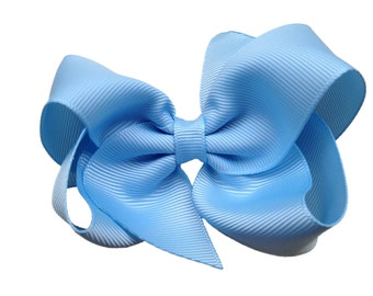 4 inch light blue hair bow - light blue bow, 4 inch bows, boutique bows, girls hair bows, blue bows, toddler bows, light blue hair bow