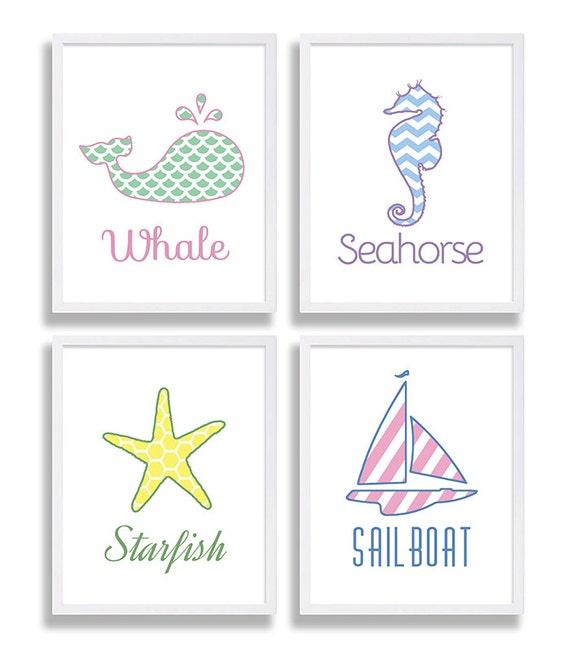 Baby Nash S Vintage Nautical Nursery: Nautical Nursery Decor Baby Girls Room Set Of 4 Prints Baby