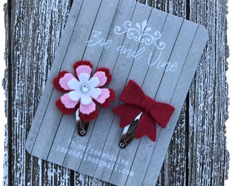 READY TO SHIP, Red Pink White Wool Felt Flower Mini Bow Clip Set, Baby Clips, Infant Girls Adult Mini Snap Clips