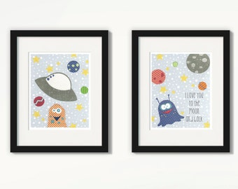 Space Nursery, Space Nursery Decor, Space Nursery Art, Outer Space Nursery, Space Art, UFO Nursery, Martian Nursery, Space Theme Nursery