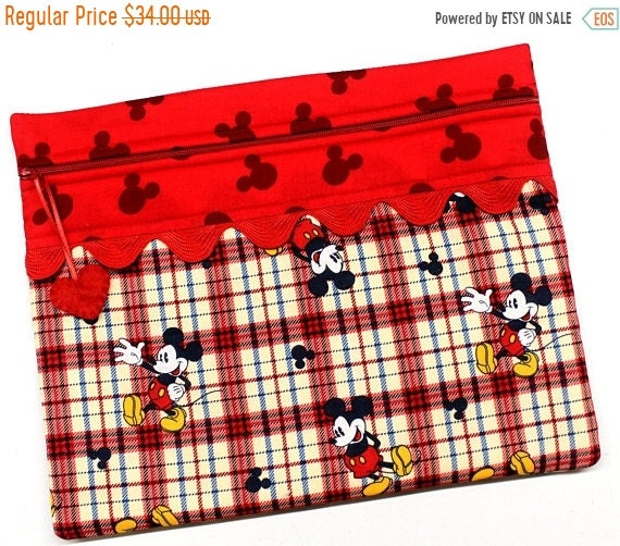 SALE Plaid Mickey Cross Stitch Embroidery Project Bag