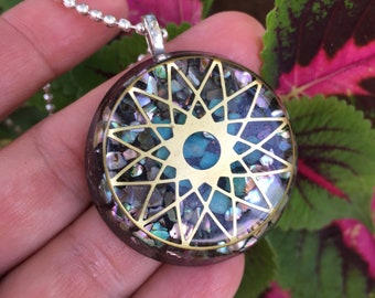 Orogne Protector Pendant with Stargate Symbol, Turquoise and Abalone Shell