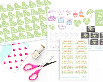 Pregnancy Weeks and Milestones Tracking Planner Stickers for Erin Condren, Plum Planner, Inkwell Press or Filofax Planners