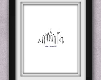 New York City Skyline Minimalist Print