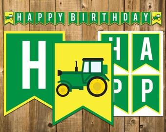 Green Tractor Birthday Banner, John Deere Birthday Banner, Barn Birthday Decorations, Tractor Birthday Decorations Printable, Farm Birthday