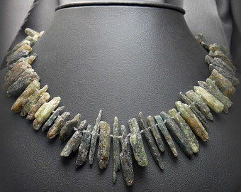 Rough Green Kyanite Stone Hand Knotted Necklace with Sterling Silver