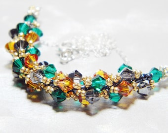"""The Avengers Loki Inspired Crystal Necklace Beadweaving Sterling Silver -  """"Liesmith"""""""