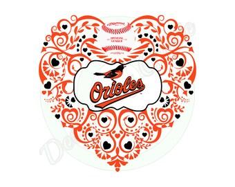 Baseball (Baltimore) Ornate Heart