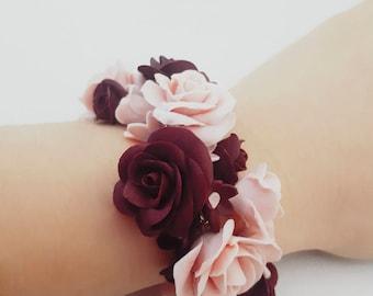 Red rose bracelet, dark red rose, red flower bracelet, realistic rose, realistic roses, clay rose bracelet, pink roses bracelet, flower girl