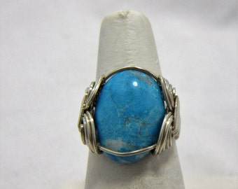 Turquoise Ring, Sterling Silver Wire Wrap Ring, Size 8 Ring, December Birthstone, Boho Ring, Cherokee Made, Native American Made #306