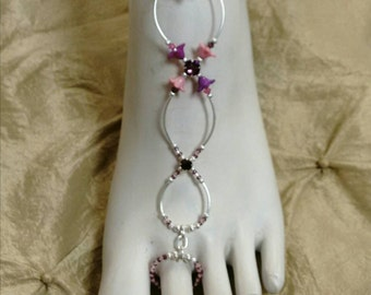 Slave anklet barefoot sandal pink flowers brockus creations handcrafted jewelry