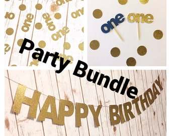 SALE FLASH SALE !! Baby first birthday party bundle / first year / birthday bundle / party supply / baby boy / baby girl / cupcake topper
