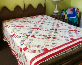 """Imperfect Quilt Red  80"""" x 70"""" Colorful Patchwork"""