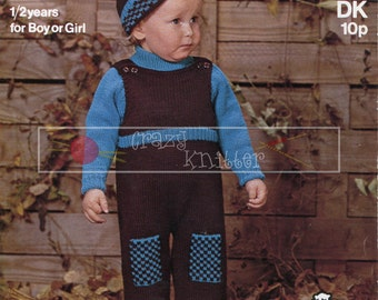 Baby Sweater Catsuit Hat DK 1-2 years Sirdar 3190 Vintage Knitting Pattern PDF instant download