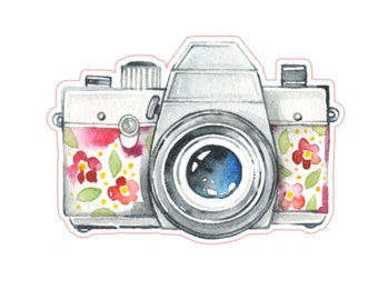 Camera Stickers, Watercolor Art, Photography, Planner Sticker