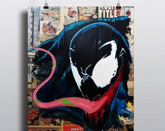 Venom Collage Painting