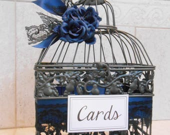 Small Navy Blue Wedding Birdcage Card Holder | Wedding Card Box | Navy Blue Wedding Decor | Silver Birdcage | Gray Birdcage | Made To Order