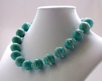 Turquoise Necklace, Gemstone Necklace, Swarovski Crystal Necklace, Rhinestone Jewelry, Chunky, Choker, Bold Jewelry, Statement Necklace