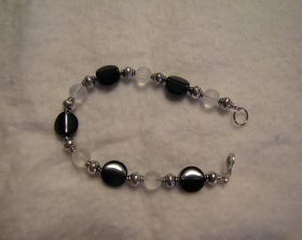 Bracelet-Black-Glass-Disc and Frosted White Silver #107