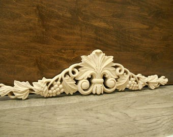 "Carved Applique - Grape  Onlay -16""W x 3 3/4""H x 3/4""D - Small Carvings -Maple Carved Applique -Grape Applique -ref.Ma20s"