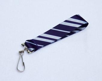School Stripes Blue and Silver Key Fob