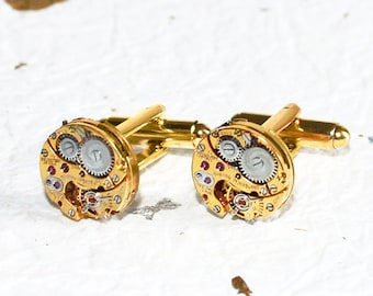 GIRARD PERREGAUX Steampunk Cufflinks: Very RARE Luxury Swiss Gold Vintage Watch Movement Men Steampunk Cufflinks Cuff Links Fathers Day Gift