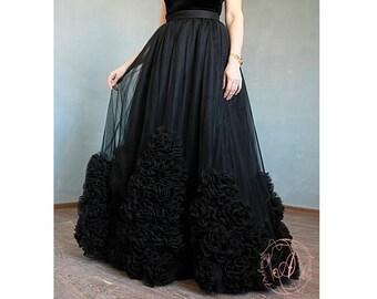 Black tulle skirt Maxi tulle skirt Adult tulle skirt Tulle skirt Long skirt