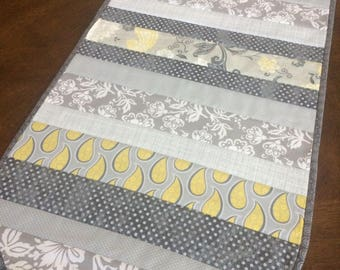 Gray and Yellow Table Runner, Quilted Table Runner, Kitchen and Dining Decor, Spring Decor, Gift for Her, Housewarming Gift
