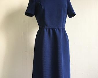 Vintage Sally Mod Dress | 1960s Navy Blue Dress | Medium