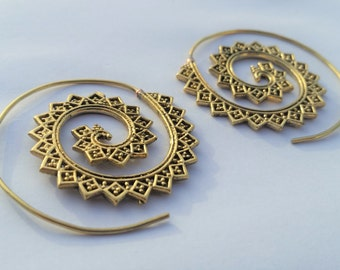 Brass Spiral Earrings, Brass Earrings, Gold Earrings, Boho Earrings, Tribal Earrings, Ethnic Jewellery, Brass Jewellery