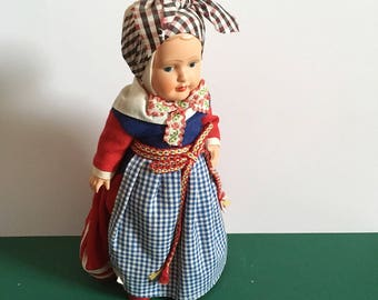 Vintage Danish Costume Doll, 9 inch tall, excellent condition, national costume.