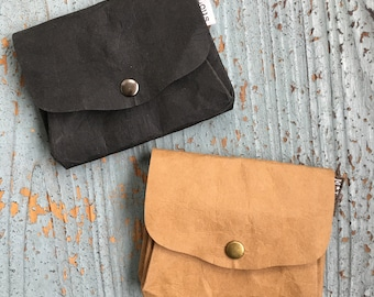 Faux leather coin pouch coin wallet small coin purse vegan purse leather look leather paper snappap travel pouch vegan leather byMlous boho