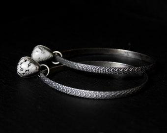 READY TO SHIP - White Buffalo Turquoise Sterling Silver Earrings Stud Hoops #002 | Teardrop Studs Post | Gugma Women's Minimalist Jewelry