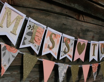 Miss To Mrs Banner - Bridal Shower Decor - Engagement Party Decor - Bride-to-Be - Flag Banner - Party Banner - Event Decor - Party Supplies