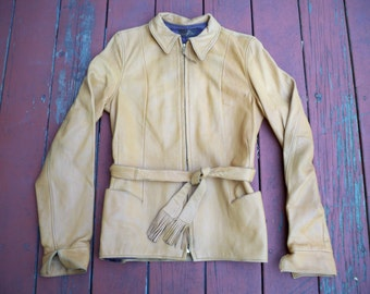 Vintage E J Ness Riding Biker Rancher Deerskin Brown Leather Men's Jacket Coat Size Small Made in USA