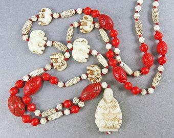 Art Deco Pendant Necklace With Red Czeh Glass Beads Art Deco Jewelry Antique Jewllery
