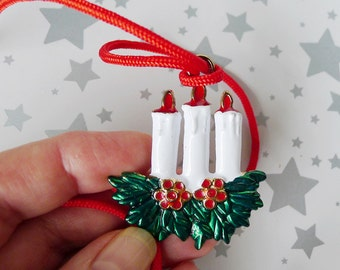 Candle Pendant, Candle Necklace, Holiday Candles, Enamel Pendant, Satin Red Cord, Simple Christmas Jewelry, Children's Jewelry
