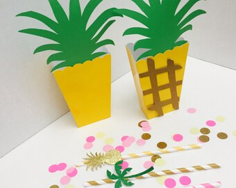 5 ct Pineapple Treat Boxes. Hawaiian Party favors. Summer party treat boxes. Lua party favors. Pinapple party favors.