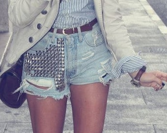 Custom Made Studded Distress Shorts