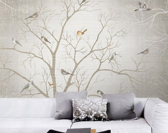 Branch Birds Wallpaper Wall Decal Art Dreamy Winter Woods Tree Mural Custom Sizing