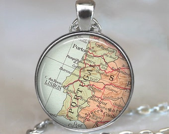 Portugal map necklace, Portugal map pendant, Portugal necklace, Portugal pendant map jewelry vintage map travel gift key chain key ring