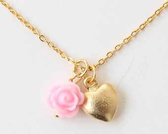 Flower girl gift, flower girl necklace, flower girl heart necklace, gold flower girl, wedding gift, bridal party gift, childrens necklace