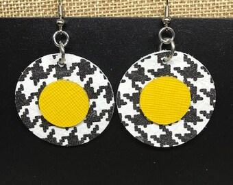 Leather earrings, Leather, Earrings, Jewelry, Houndstooth earrings, Round earrings, Yellow earrings, Black and white earrings, Bold earrings