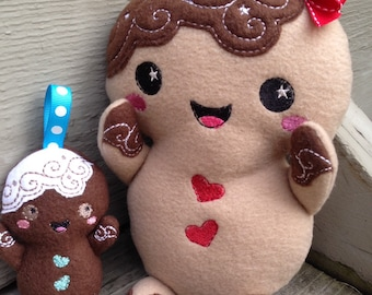 Gingerbread Man Plush - soft toy - Hand baked in Michigan - Kids stuffed toy